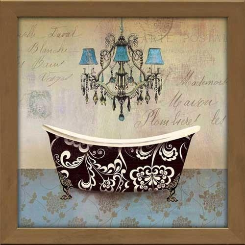 French Vintage Bath Ii – Framed Canvas Art Inside French Bathroom Wall Art (Image 13 of 20)