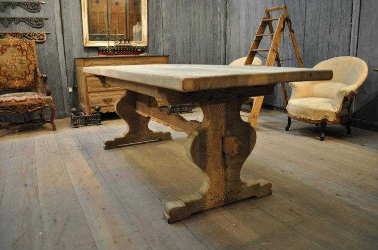 French Vintage Oak Trestle Farm Dining Table With Sculpted Trestle Within Most Popular French Farmhouse Dining Tables (Image 19 of 20)