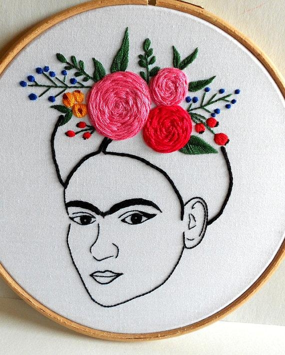 Frida Kahlo Wall Art Modern Embroidery Hoop Art Hand Pertaining To Feminist Wall Art (Image 13 of 20)