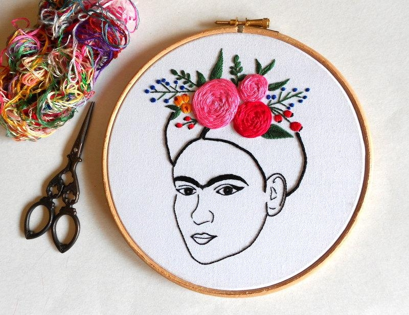 Frida Kahlo Wall Art Modern Embroidery Hoop Art Hand Pertaining To Feminist Wall Art (Image 12 of 20)