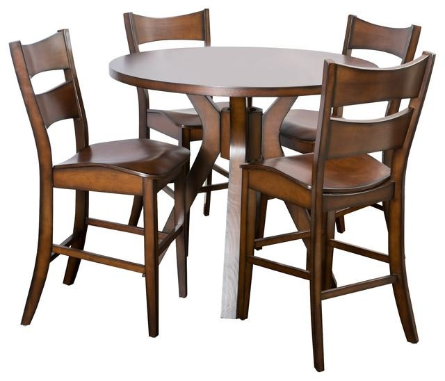 Fulton Wooden 5 Piece Counter Dining Set – Traditional – Dining Throughout Most Recent Wooden Dining Sets (Image 11 of 20)