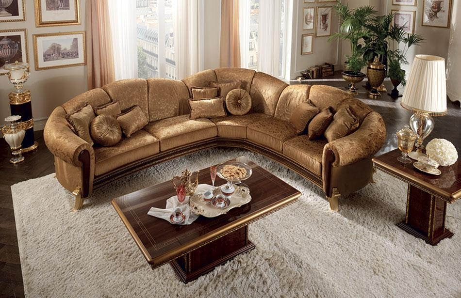 Furniture: Brown Leather Traditional Sectional Sofa With Cushions Within Traditional Leather Sectional Sofas (Image 8 of 20)
