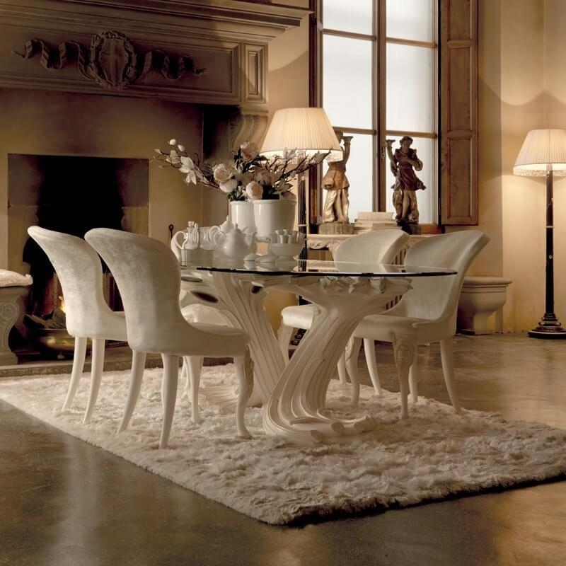 Furniture / Exclusive Italian Pedestal Large Glass Dining Table With Recent Pedestal Dining Tables And Chairs (Image 15 of 20)