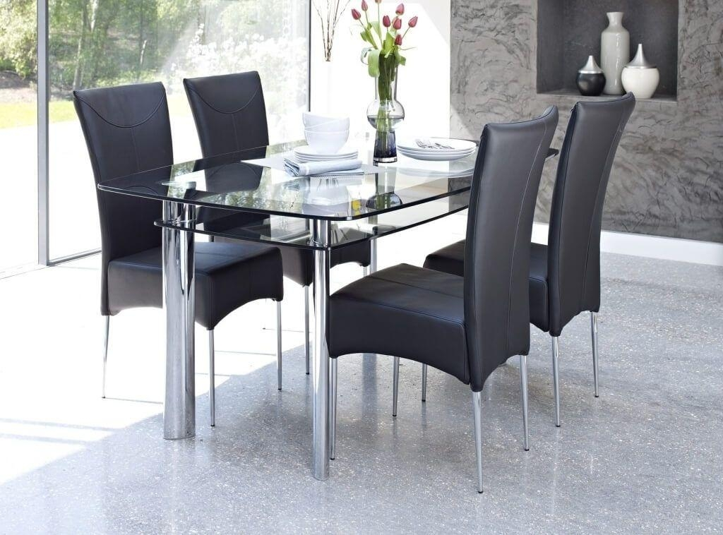 Furniture: Modern Smoked Glass Dining Table With 6 High Back Pertaining To Recent Smoked Glass Dining Tables And Chairs (Image 12 of 20)