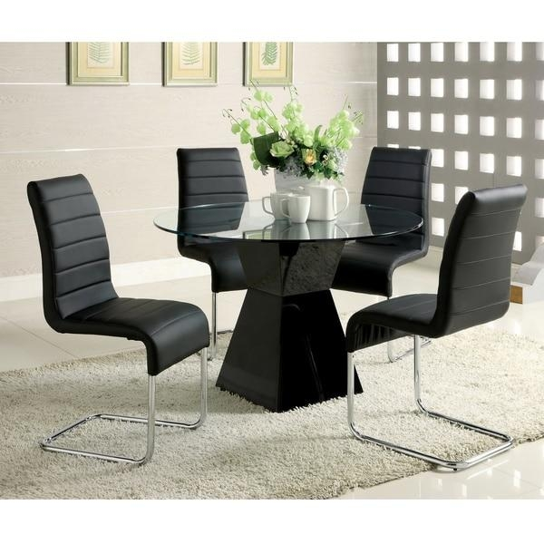 Furniture Of America 'athena' 5 Piece High Gloss Dining Set – Free In Most Up To Date High Gloss Dining Chairs (View 10 of 20)