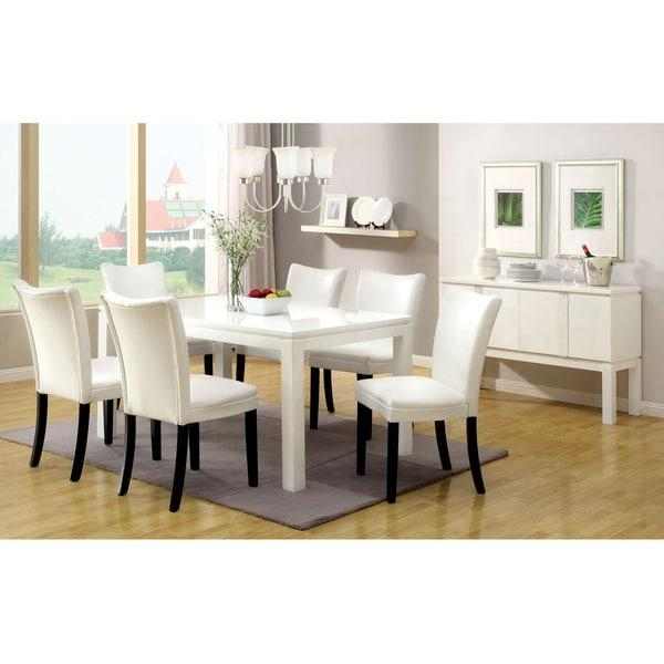 Furniture Of America Davao High Gloss Lacquer Contemporary 60 Inch Inside 2018 High Gloss White Dining Chairs (Image 9 of 20)