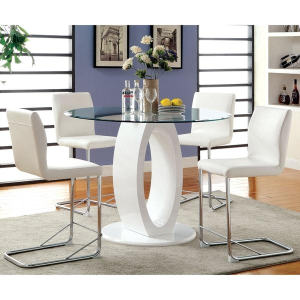 Furniture Of America Olgette Contemporary High Gloss Round Dining With Regard To High Gloss Dining Tables (Image 13 of 20)