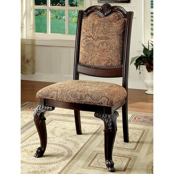 Furniture Of America Oskarre Formal Fabric Dining Chairs (Set Of 2 Throughout Newest Fabric Dining Chairs (Image 10 of 20)