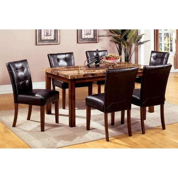 Furniture Of America Tamerithe 7 Piece Faux Marble Dining Set Inside 2018 Marble Dining Chairs (Image 7 of 20)