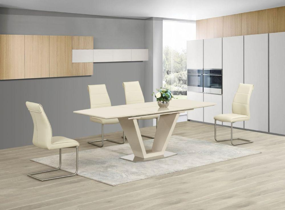 Ga Loriga Cream Gloss Glass Designer Dining Table Extending 160 Pertaining To 2017 Cream High Gloss Dining Tables (Photo 6 of 20)