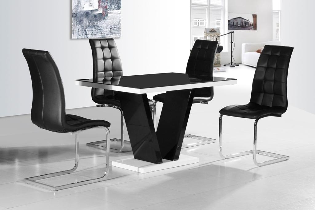 Ga Vico Blg White Black Gloss Gloss Designer 120 Cm Dining Set 4 In Most Recent Black Gloss Dining Tables And Chairs (Image 9 of 20)