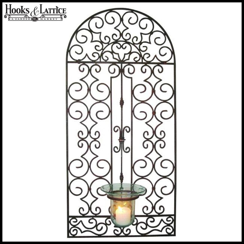 Garden Gate Wall Hurricane Holder With Regard To Outdoor Wrought Iron Wall Art (Image 9 of 20)