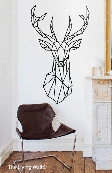 Geometric Deer Head Wall Decals Geometric Animallivingwall Throughout Metal Animal Heads Wall Art (Image 6 of 20)