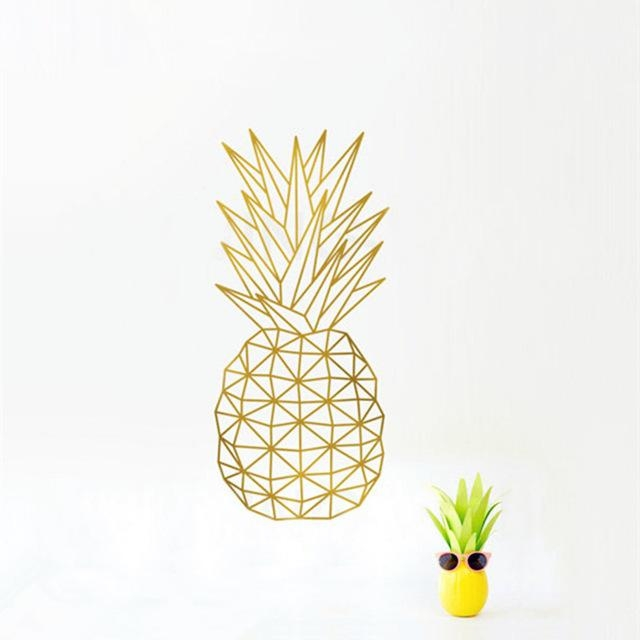 Geometric Pineapple Wall Decal Sticker Home Decor Pineapple Vinyl For Pineapple Metal Wall Art (Image 5 of 20)