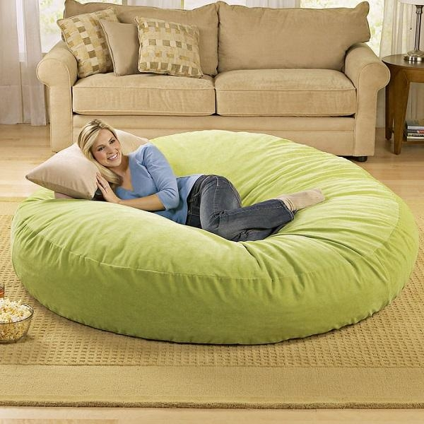 Giant Bean Bag Chair Lounger – Alldaychic For Giant Bean Bag Chairs (Image 7 of 20)