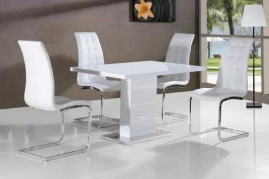 Giatalia Ice White Gloss Dining Table With 4 Enzo White Faux Intended For White Gloss Dining Chairs (View 9 of 20)