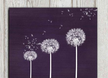 Gift Idea Dandelion Printable Purple Dandelion Print Wall Art Inside Purple Wall Art For Bedroom (Image 10 of 20)