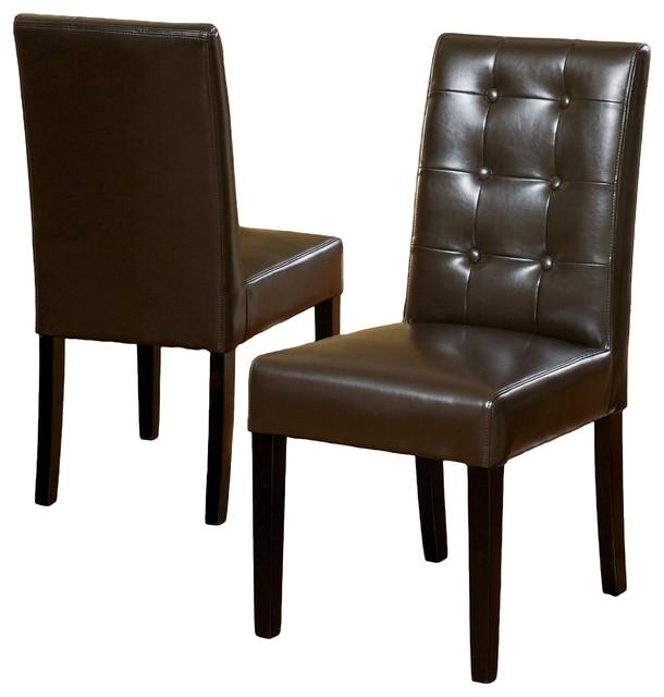 Gillian Leather Dining Chair, Set Of 2 – Transitional – Dining Regarding Latest Dark Brown Leather Dining Chairs (Image 8 of 20)