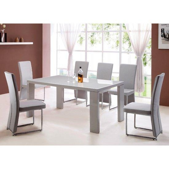 Giovanni High Gloss Grey Dining Table And 4 Light Grey For 2017 Dining Tables Grey Chairs (Image 16 of 20)