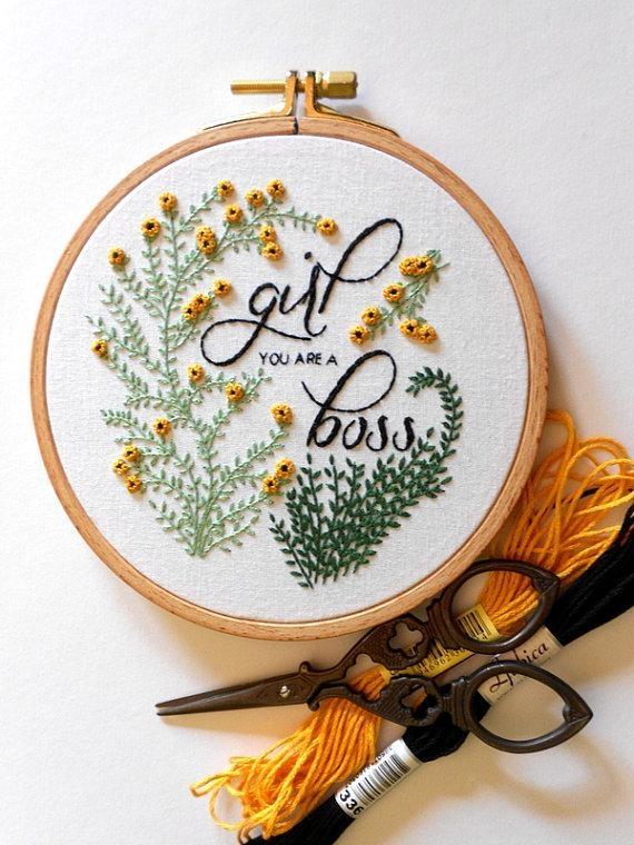 Girl Boss Feminist Wall Art Flower Embroidery Hoop Art Girl For Feminist Wall Art (Image 15 of 20)
