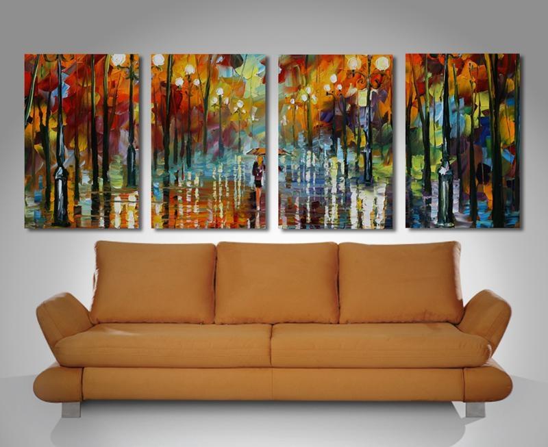 Girl In Lane Canvas 4 Panel Split Painting Modern Art Throughout Split Wall Art (View 4 of 20)