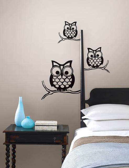 Give A Hoot Wall Owl Wall Artwallpops – Contemporary – Bedroom In Wall Art For Bedroom (Image 12 of 20)
