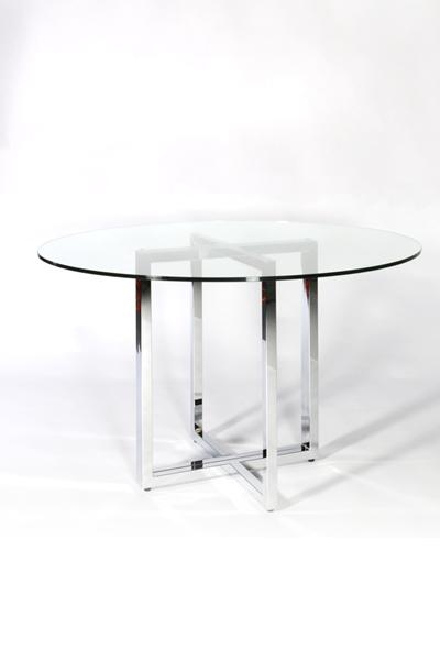Glass Chrome Dining Table | Reserve Modern Event Rentals Pertaining To Recent Chrome Glass Dining Tables (Image 4 of 20)
