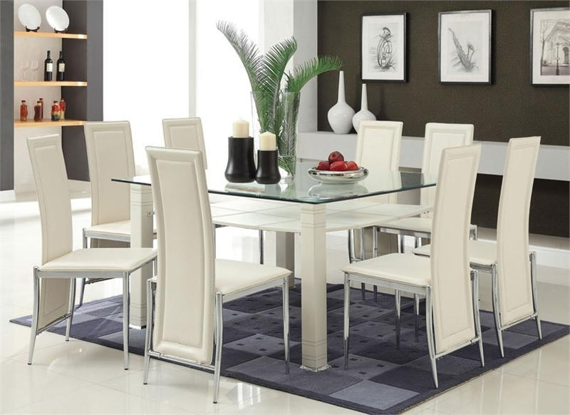 Glass Dining Room Chairs Of Exemplary White Leather Chairs White With Regard To Newest Glass Dining Tables And Leather Chairs (Image 12 of 20)