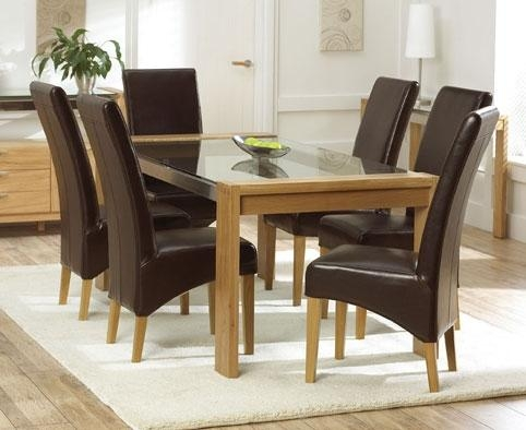 Glass Dining Table – 180Cm & 6 Rochelle Leather Chairs – Black Or Regarding Current Glass Dining Tables And Leather Chairs (Photo 16 of 20)