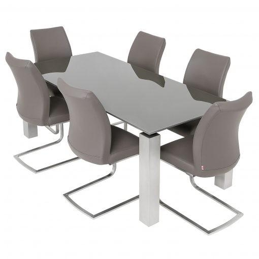Glass Dining Table & 6 Pada Chairs Pertaining To 2018 Grey Glass Dining Tables (Photo 13 of 20)