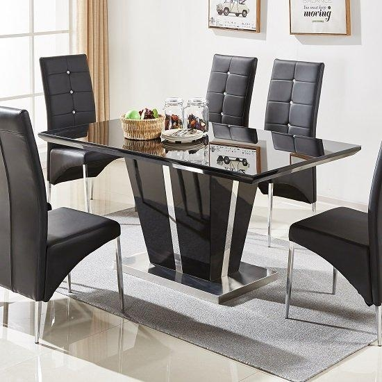 Glass Dining Table In Black Gloss And Chrome Base For 2018 Black Gloss Dining Tables (Image 15 of 20)