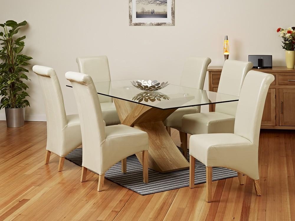 Glass Dining Table Leather Chairsherpowerhustle With Regard To Latest Oak And Glass Dining Tables Sets (Image 17 of 20)