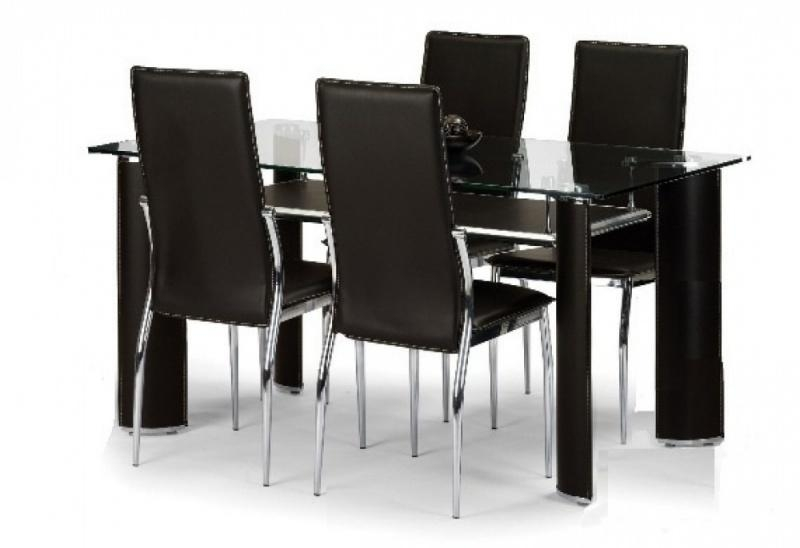 Glass Dining Table Set For 4 – Insurserviceonline For Most Recent Round Black Glass Dining Tables And 4 Chairs (Image 13 of 20)