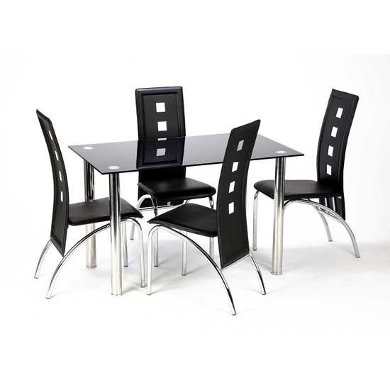 Glass Dining Table Set For 4 – Insurserviceonline Pertaining To Most Recently Released Cheap Glass Dining Tables And 4 Chairs (Image 13 of 20)