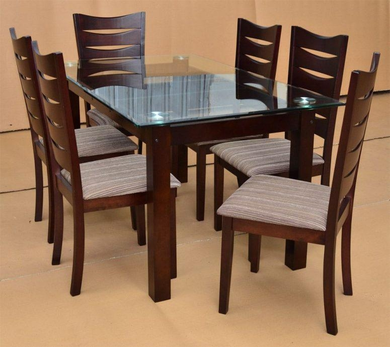 Glass Dining Table Set White Ceramic Tile Floor Black Aluminium In Latest Dark Brown Wood Dining Tables (Image 14 of 20)