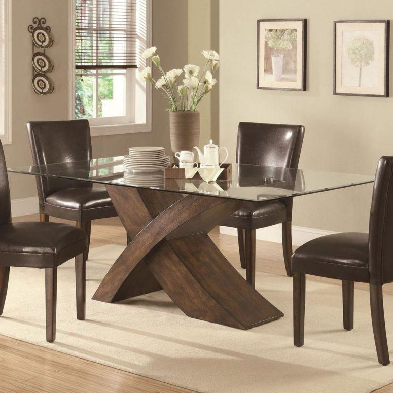 Glass Dining Table Set White Clear Glass Windows Modern Glass Regarding Newest Dark Brown Wood Dining Tables (Image 15 of 20)