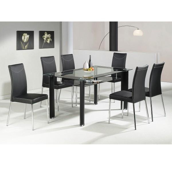Glass Dining Table Singapore » Gallery Dining With Most Popular Black Glass Dining Tables With 6 Chairs (Image 12 of 20)