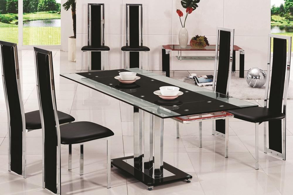 Glass Dining Table With 6 Chairs » Gallery Dining Within Latest Black Glass Dining Tables 6 Chairs (View 18 of 20)