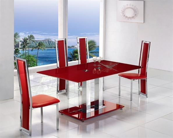 Glass Dining Table With Red Leather Chairs | Dining Chairs Design Regarding Most Popular Glass Dining Tables And Leather Chairs (View 20 of 20)