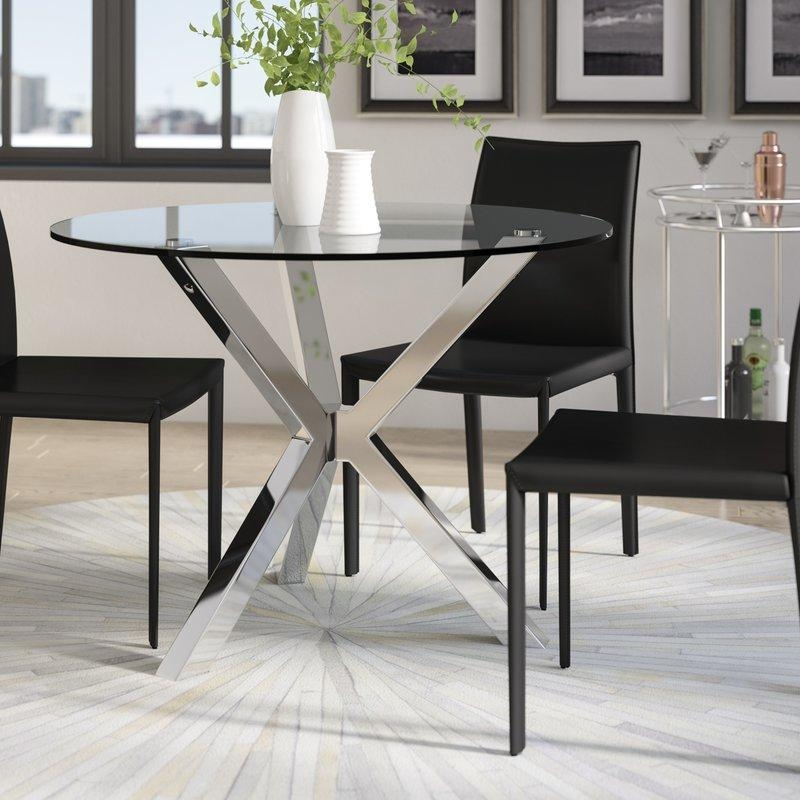Glass Kitchen & Dining Tables You'll Love | Wayfair Intended For 2018 Glasses Dining Tables (Image 17 of 20)