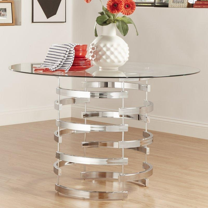 Glass Kitchen & Dining Tables You'll Love | Wayfair With Regard To 2017 Dining Room Glass Tables Sets (Image 11 of 20)