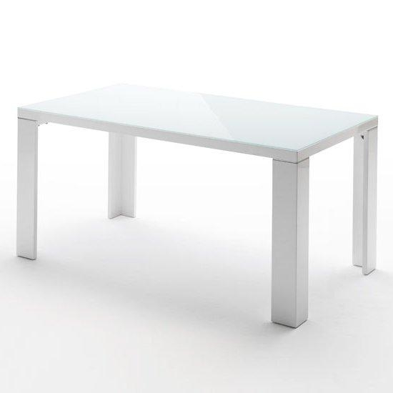 Glass Top Dining Table In White High Gloss 140Cm Throughout Most Recent White Gloss And Glass Dining Tables (Photo 12 of 20)