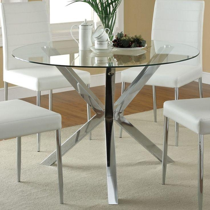 Glass Top Dining Tables With Metal Base #11249 In Most Current Glass And Chrome Dining Tables And Chairs (Image 14 of 20)