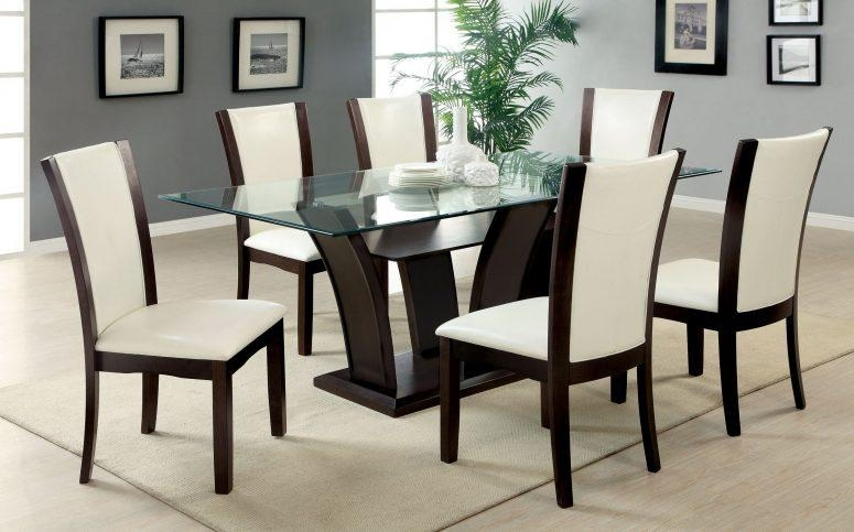 Glass Top Dining Tables With Wood Base Glass Chrome Polishes Inside Newest Dark Brown Wood Dining Tables (Image 16 of 20)