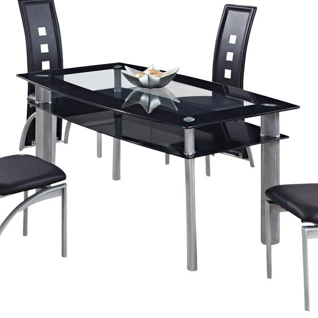 Global Furniture Usa 1058Dt Rectangular Black Glass Dining Table Regarding Most Recent Dining Tables Black Glass (Image 16 of 20)