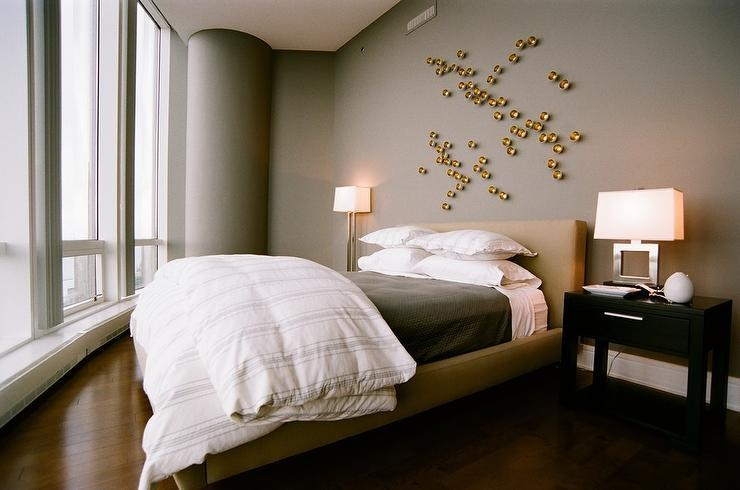 Gold And Gray Bedroom With Gold Art – Contemporary – Bedroom Throughout Wall Art Over Bed (View 9 of 20)