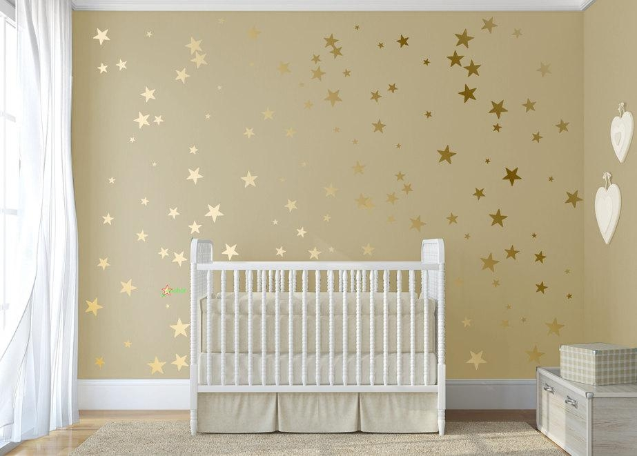Gold Confetti Stars Stick On Wall Art Gold Vinyl Wall Decal For Gold Wall Art Stickers (Image 9 of 20)