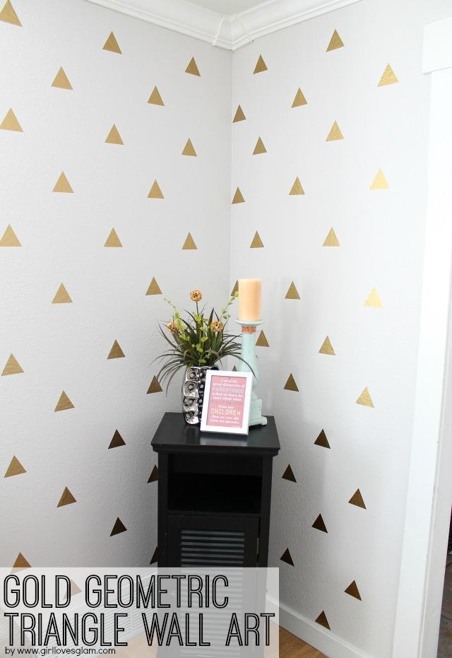 Gold Geometric Triangle Decal Wall Art – Girl Loves Glam Within Gold Wall Art Stickers (Image 10 of 20)