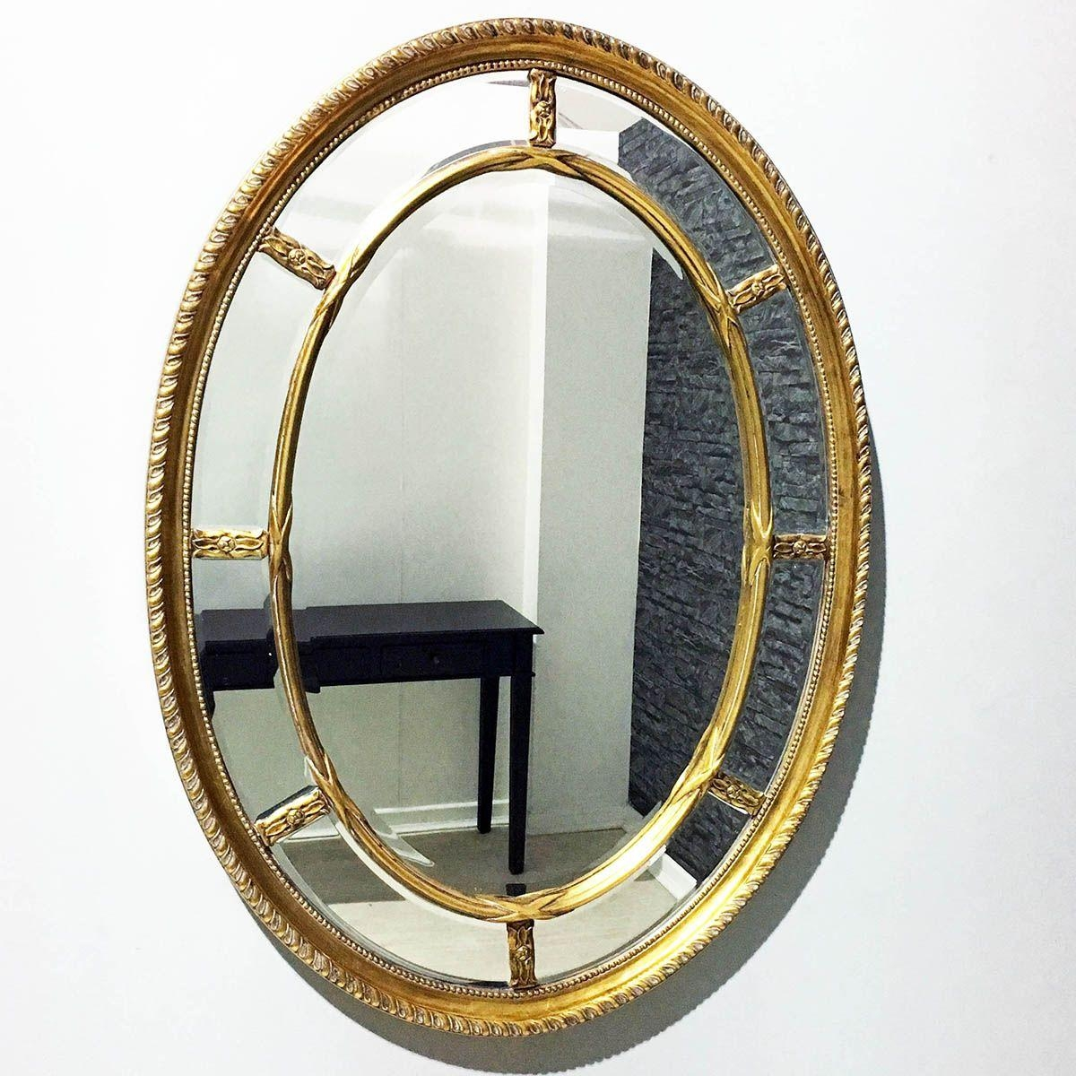Gold Oval Cameo Style Mirror 110 X 80Cm | Exclusive Mirrors Regarding Gold Oval Mirrors (Image 7 of 20)