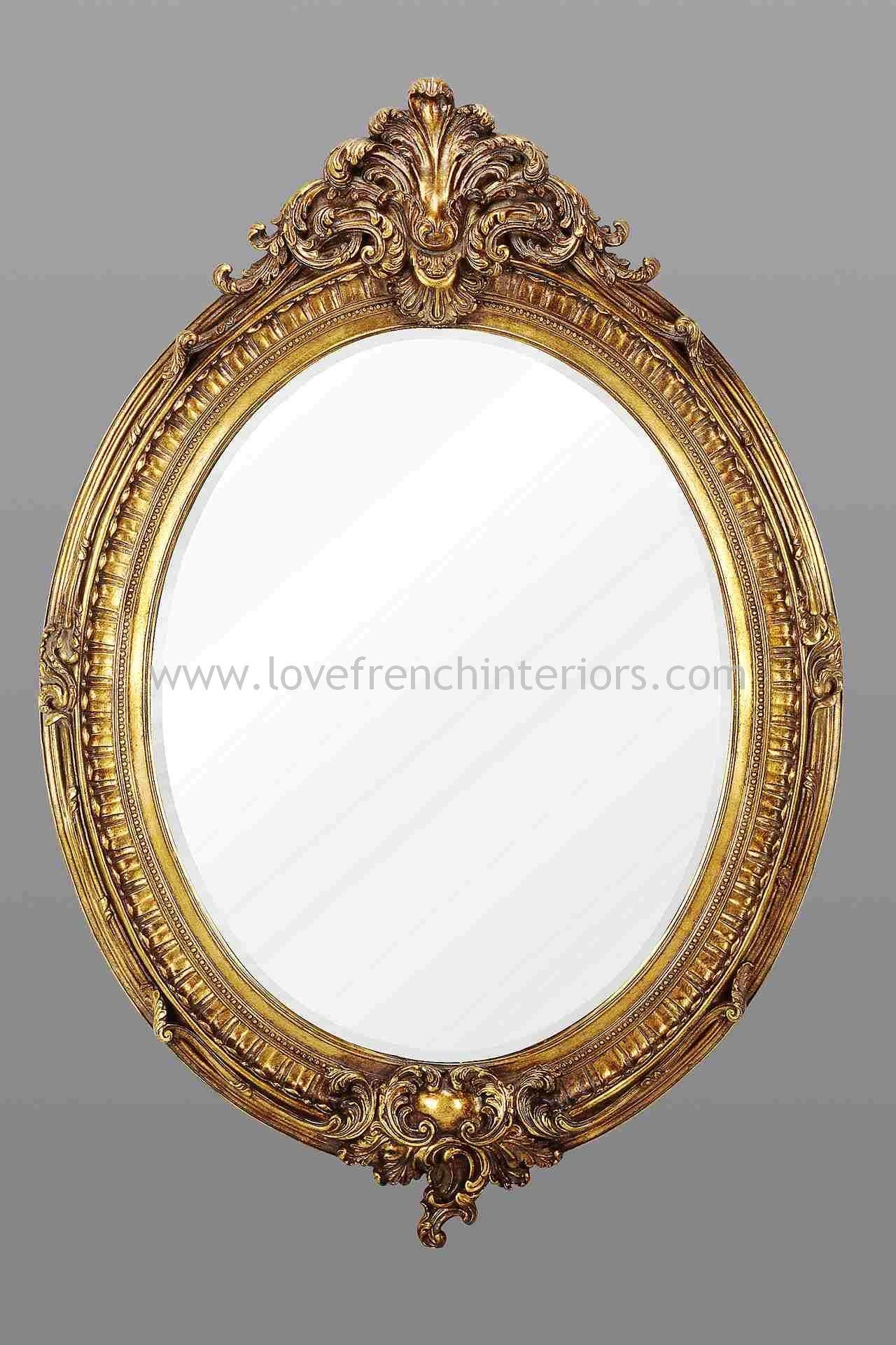 Gold Oval French Mirror Throughout Gold Oval Mirrors (Image 8 of 20)